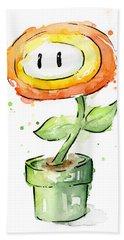 Fireflower Watercolor Painting Bath Towel