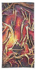 Hand Towel featuring the mixed media Firelight by Angela Stout