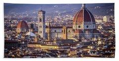 Firenze E Il Duomo Bath Towel by Sonny Marcyan