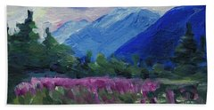 Hand Towel featuring the painting Fireweed At Outer Point Alaska by Yulia Kazansky