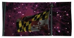 Hand Towel featuring the photograph Fireworks And The Maryland Flag by Robert Banach