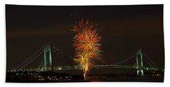 Fireworks Over The Verrazano Narrows Bridge Hand Towel