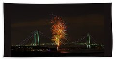 Fireworks Over The Verrazano Narrows Bridge Bath Towel