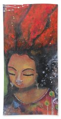 Hand Towel featuring the painting Firey Hair Girl by Prerna Poojara
