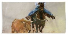 First Bulldogger Bill Picket Oil Painting By Kmcelwaine  Hand Towel