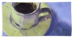 Hand Towel featuring the painting First Cup by Nancy Merkle