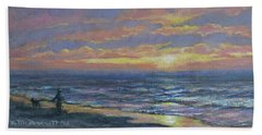 Hand Towel featuring the painting First Light - Golden Mile by Kathleen McDermott