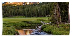 First Light On Lassen From Upper Meadow Bath Towel