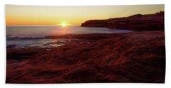 First Light On Red Sandstone Beach Bath Towel