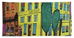 Hand Towel featuring the painting First National Hotel. Historic Menominee Art. by Jonathon Hansen