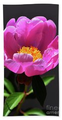 First Peony Bath Towel by Skip Willits