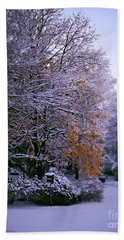 First Snow After Autumn Bath Towel
