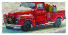 Hand Towel featuring the painting First Snow by Chris Brandley