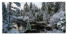 First Snow On Grand Marais Creek Hand Towel