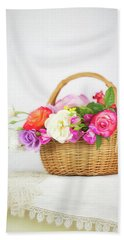 First Spring Garden Roses Hand Towel
