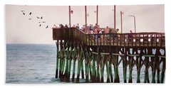 Fish Are Biting At Ocean Isle Pier Hand Towel by Sandi OReilly