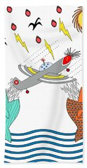 Fish Food Hand Towel by Methune Hively