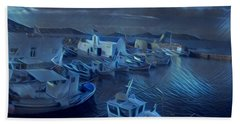 Fish Harbour Paros Island Greece Hand Towel