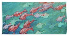 Bath Towel featuring the painting Fish In Abundance by Xueling Zou