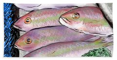 Fish Market Hand Towel by Jean Pacheco Ravinski
