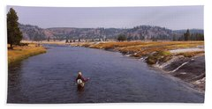 Fisherman Fishing In A River, Firehole Hand Towel