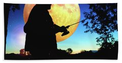Fisherman In The Moolight Bath Towel
