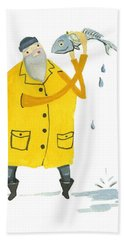 Bath Towel featuring the painting Fisherman by Leanne WILKES