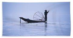 Fisherman On Inle Lake Bath Towel