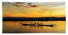 Hand Towel featuring the photograph Fisherman On Their Boat by Pradeep Raja Prints