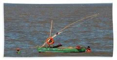 Fishermen Pulling Boat Hand Towel