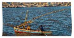 Fishermen Rowing Near Maputo Hand Towel