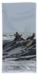 Fishermen With Seagull Hand Towel