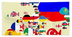 Fishes Map Of Europe Hand Towel
