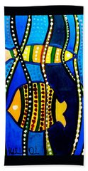 Bath Towel featuring the painting Fishes With Seaweed - Art By Dora Hathazi Mendes by Dora Hathazi Mendes