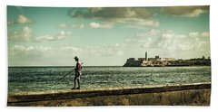 Bath Towel featuring the photograph Fishing Along The Malecon by Lou Novick