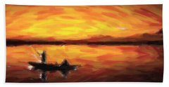 Fishing At Golden Hours Bath Towel by Adam Asar