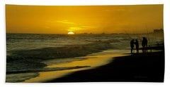 Fishing At Sunset Bath Towel