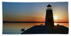 Fishing At The Lighthouse Bath Towel