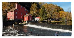 Fishing At The Old Mill Hand Towel