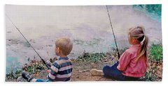 Fishing At Watkins Mill Bath Towel by Steve Karol