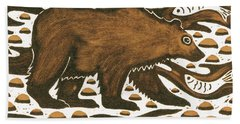 Fishing Bear Hand Towel by Nat Morley