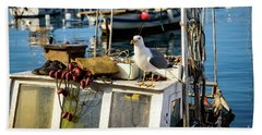 Fishing Boat Captain Seagull - Rovinj, Croatia Bath Towel