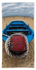 Little Blue Fishing Boat Hand Towel