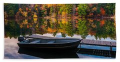 Bath Towel featuring the photograph Fishing Boat On Mirror Lake by Rikk Flohr