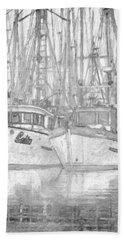 Fishing Boat Sketch Bath Towel by Richard Farrington