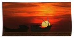 Fishing Boats In Sea Hand Towel