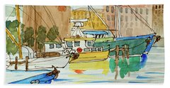 Fishing Boats In Hobart's Victoria Dock Hand Towel