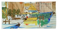Fishing Boats In Hobart's Victoria Dock Bath Towel