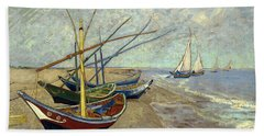 Bath Towel featuring the painting Fishing Boats On The Beach by Van Gogh