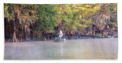 Fishing For White Perch On Big Cypress Bayou Hand Towel